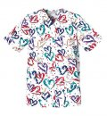CAMISA DE BROCHE ESTAMPADA 2 POCKET SNAP FRONT TOP-HEARTBEAT 65% Poliester 35% Algodón