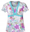 FILIPINA ESTAMPADA (S/S V-Neck Top w/  Garden-Garden Beauty) 99% Algodón 1% fibra metálica